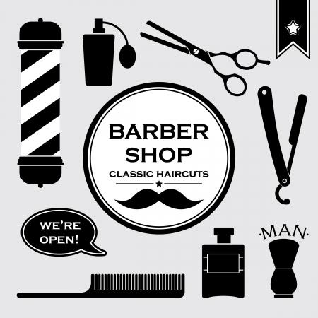 barbeiro: S�mbolos Barbershop vintage ajustados Ilustra��o