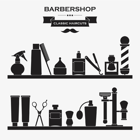 barber pole: Barbershop vintage symbols in set