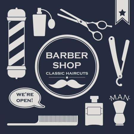 Barbershop vintage symbols set on the dark background Vector