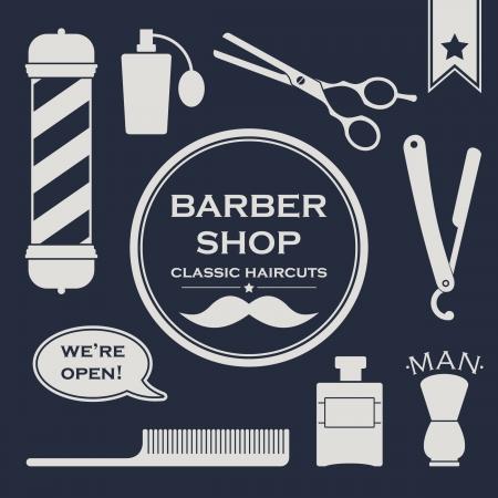 Símbolos Barbershop serie Vintage en el fondo oscuro
