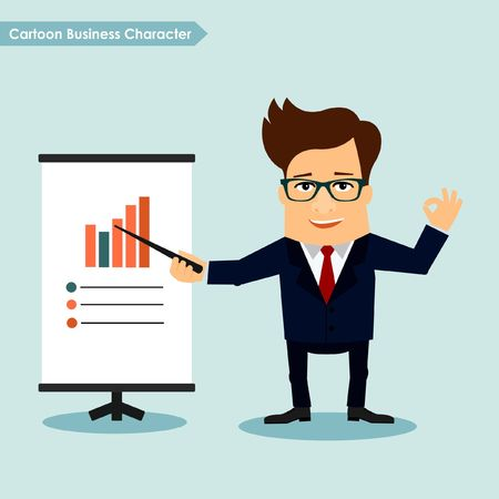 touch sensitive: Business man cartoon character presentation concept Illustration
