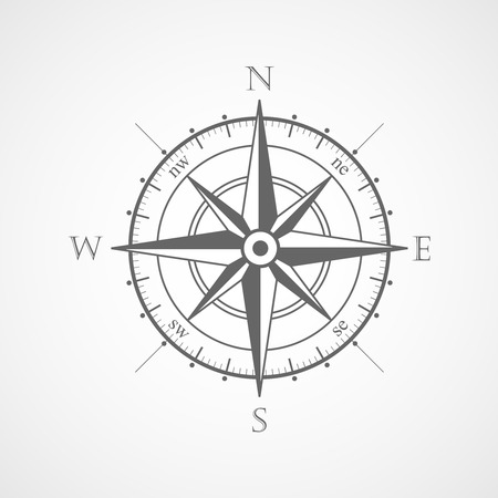 old compass: Wind rose compass vector symbol