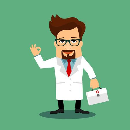 medico caricatura: Doctor cómodo personaje de dibujos animados plana Vectores