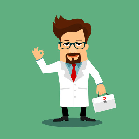 Friendly Doctor flat cartoon character