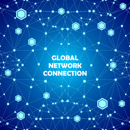 Abstract global network connections vector blue background Vector