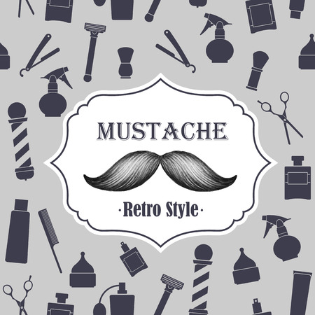 groomed: Barber shop old fashioned mustache emblem on seamless gray background
