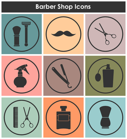 set of men hair styling: Barber Shop vintage old fashioned icons set