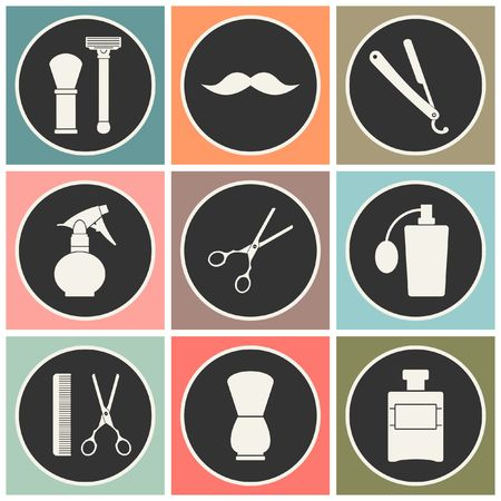man haircut: Barber Shop vintage old fashioned icons set