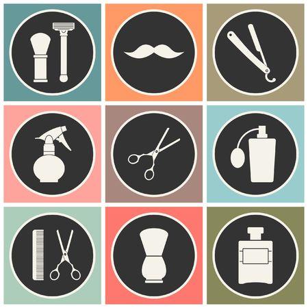 barber: Barber Shop vintage old fashioned icons set