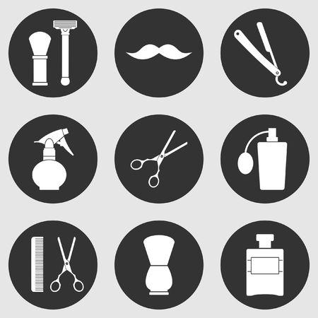 Barber Shop vintage old fashioned icons set