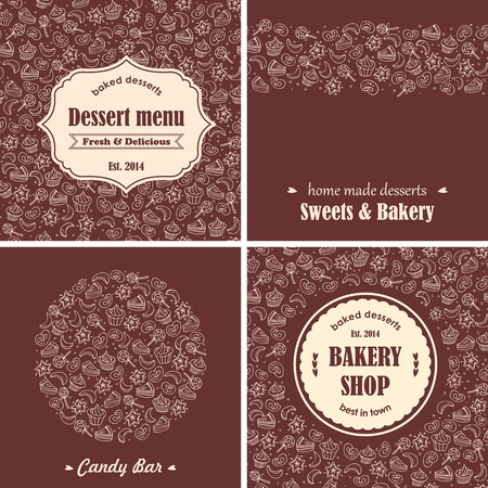 chocolate cupcake: Bakery desserts background set Illustration