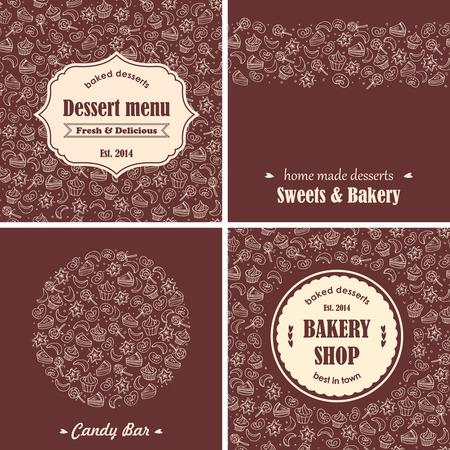 chocolate cookie: Postres Panadería conjunto de antecedentes Vectores