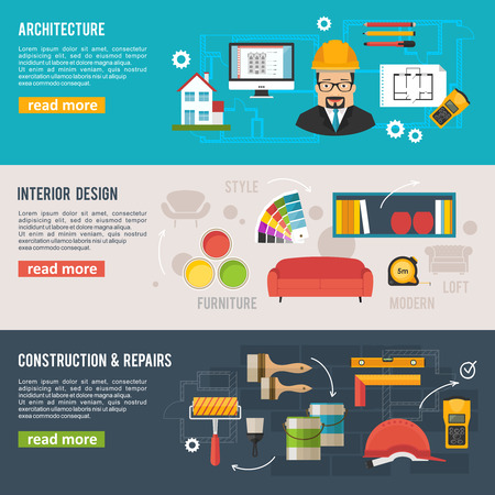 interior decoration: Architecture and interior design concept vector banners with architecture icons
