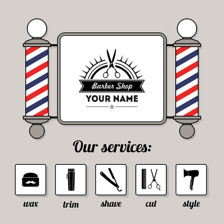 barber pole: Hair salon barber shop sign and services design template set