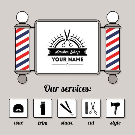 barbero: Peluquer�a peluquero signo y servicios de tienda de conjunto de plantillas de dise�o