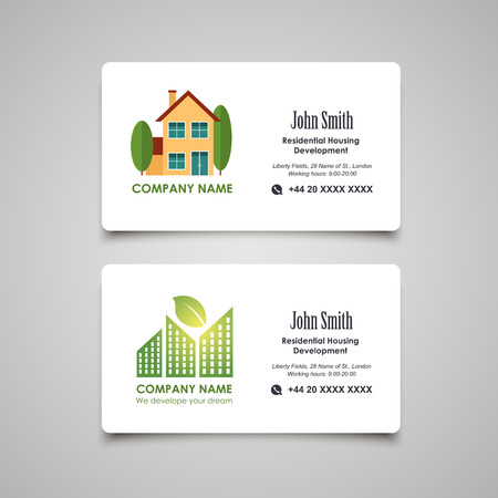 business life line: Residential housing developing or rent business card vector template Illustration