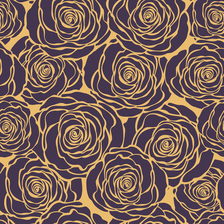 30s: Art Deco floral seamless pattern with roses. Vector roses hand drawn pattern Illustration