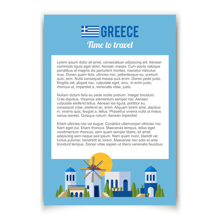 greece map: Greece Landmarks and cultural features flat banner design.