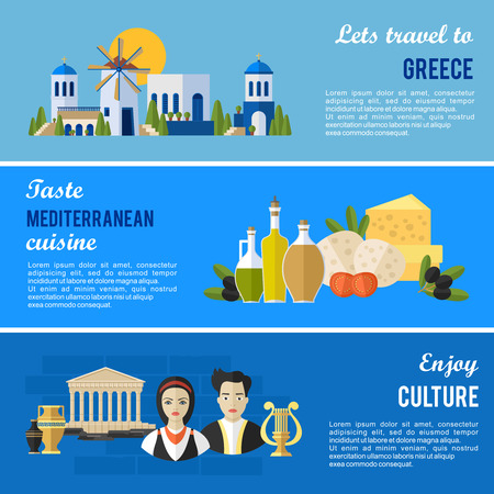 greece flag: Greece Landmarks and cultural features flat banners design set.