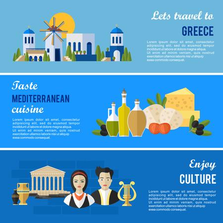 Griechenland Sehenswürdigkeiten und kulturellen Besonderheiten Flach Banner-Design gesetzt.
