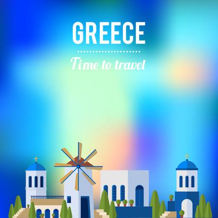 Sunset landscape vector: Hy Lạp Địa danh với thiết kế banner hoàng hôn đi