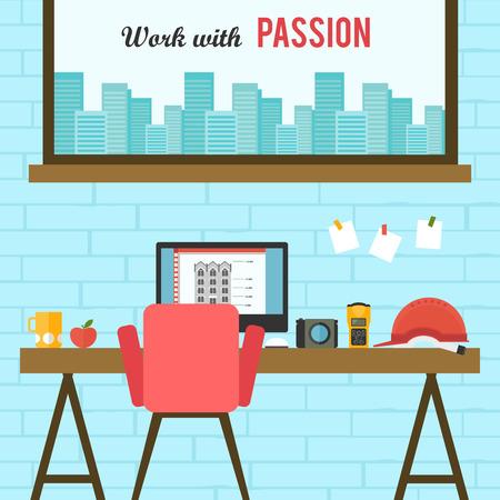 home office interior: Home office flat interior design vector illustration. Illustration