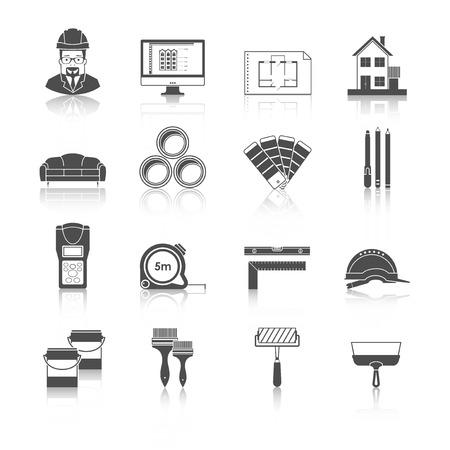 planen: Architektur, Innenarchitektur gesetzt und repariert Vektor schwarze Symbole