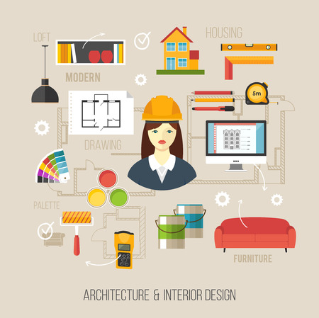 Architecture and interior design concept with women architect and architecture icons Illustration