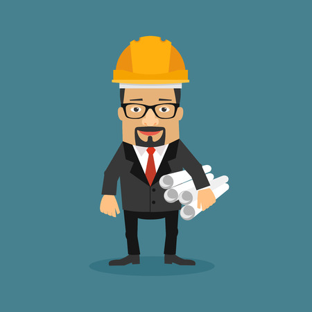 business tablet: Cartoon Business Character, architecture developer vector illustration. Illustration