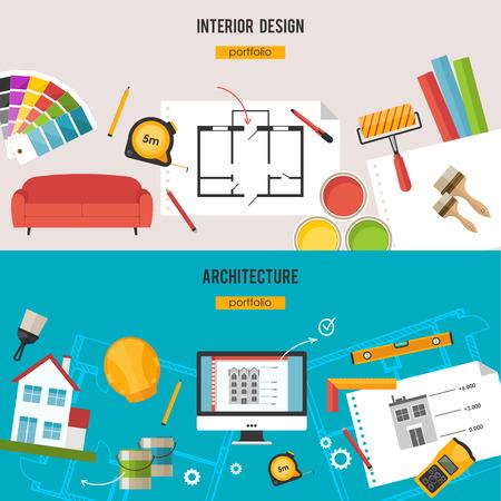 Architecture, Interior design and repairs  concept 일러스트