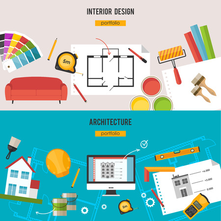 Architecture, Interior design and repairs  concept Stock Illustratie