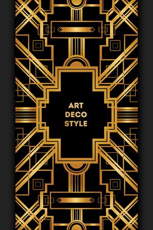 coiffer: Art Deco cadre décoratif vintage. Carte rétro template vecteur de conception