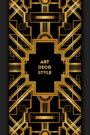 titled: Art Deco vintage decorative frame. Retro card design vector template