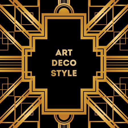 decorations: Art Deco vintage decorative frame. Retro card design vector template