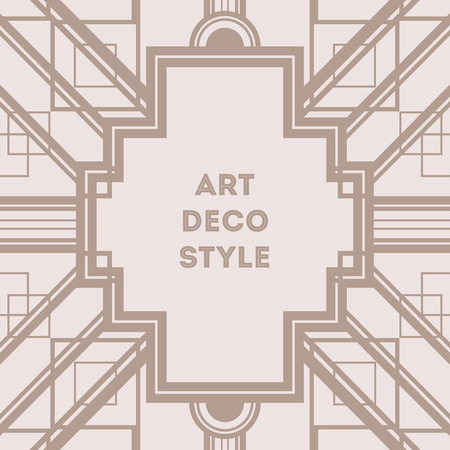 thirties: Art Deco vintage decorative frame. Retro card design vector template