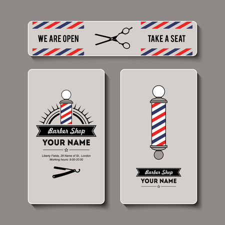 hairdressers: Hair salon barber shop sign and services design template set.