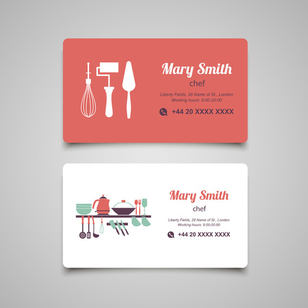 Cook business card design template Illustration