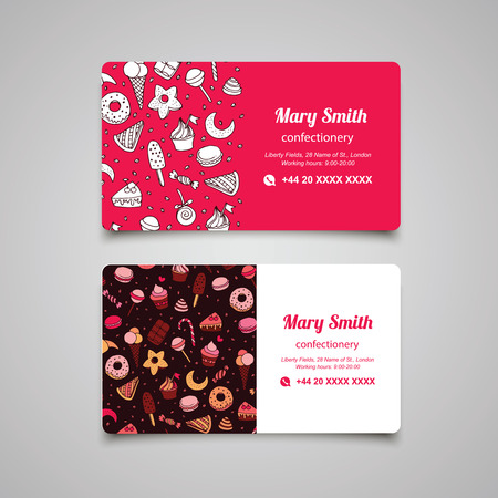 Confectionery business card with sweets and pattern