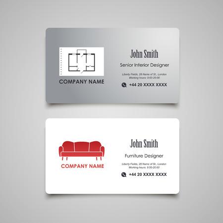 interior designer: Interior and Furniture Designer vector business card template
