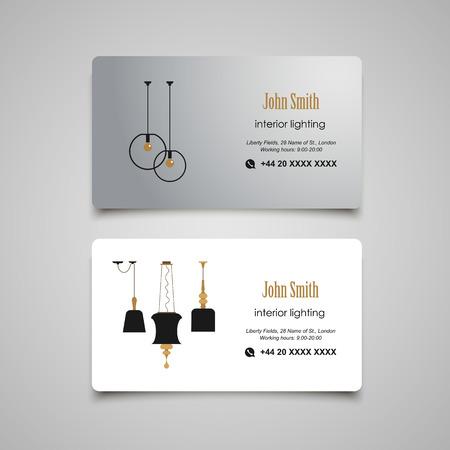 interior designer: Interior and Furniture Designer business card template Illustration