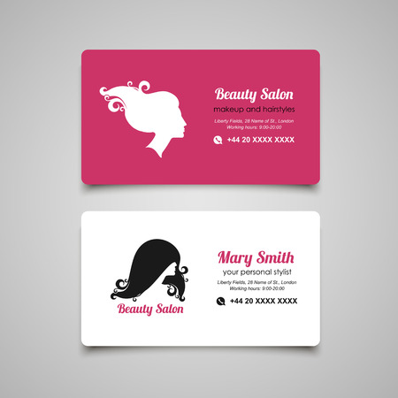 hair style collection: Beauty Salon business card design template with womans profile