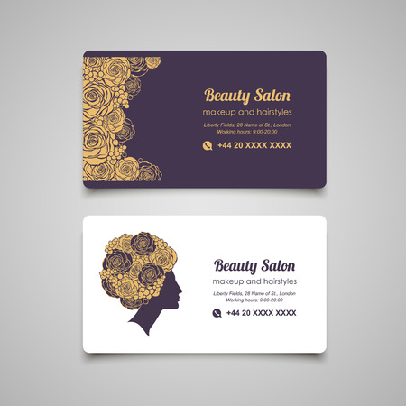 hairdress: Beauty Salon luxury business card design template with beautiful womans profile