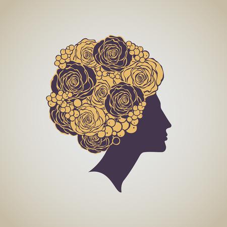 luxo: A arte bonita do perfil da mulher deco Ilustração