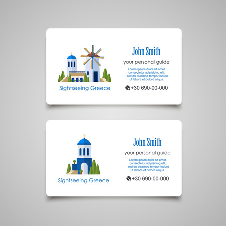 guid: Greece Landmarks. Guid business card design template
