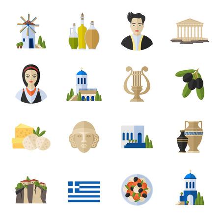 ancient greece: Grecia Monumentos y caracter�sticas culturales iconos planos dise�o conjunto