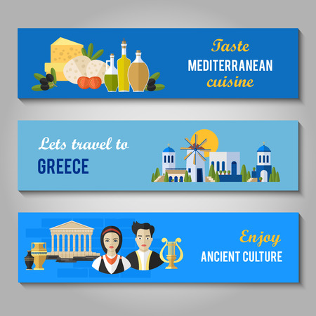 Greece Landmarks and cultural features flat banners design set.