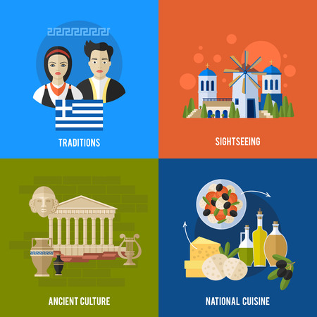 greek food: Greece Landmarks and cultural features flat banners design set.