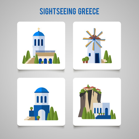 ギリシャのランドマークの伝統的な建築のフラット アイコンを設定。