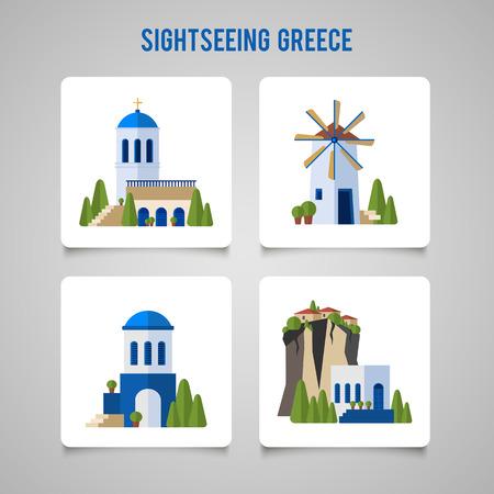 Griekenland Landmarks traditionele architectuur vlakke pictogrammen instellen.