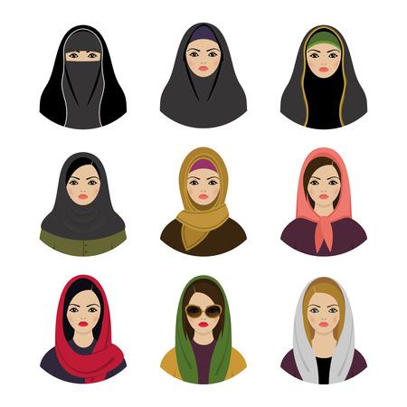 무슬림 소녀가 설정 아바타. 아시아 이슬람 전통 히잡 컬렉션 일러스트